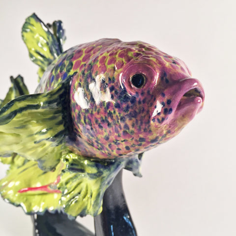Ornamental Siamese Fighting Fish Sculpture-Beautiful scale & fin details