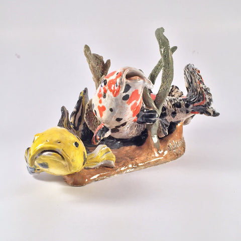 Unique Ceramic Koi Fish Sculpture for ornamental table decoration for home or office