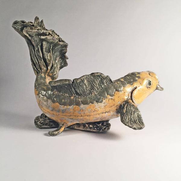 Ceramic Swimming KOI FISH Sculpture-Beautiful tail & fin texture details.