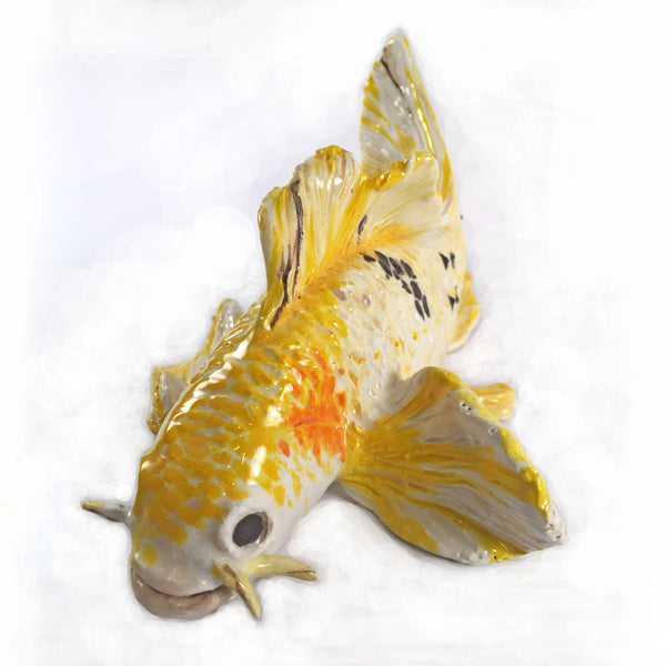 Swimming Yellow Koi Fish Sculpture/Decorative Colorful Accent-Home/Office