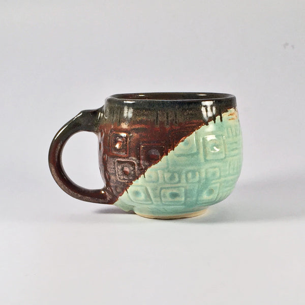 Unique Sgraffito Mug is Modern and Elegant with Mixed Glazes!