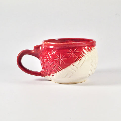 Sweet, Sgraffito Mug in Red & White Glazes is Lovely and Lightweight.