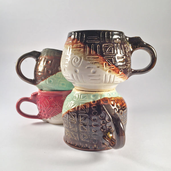 Sgraffito Mug Set of 3-ELEGANT AND MODERN DESIGN by New Ceramicist!