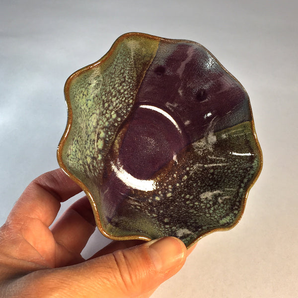 "Delicate Small Wave Bowl ""Purple Bubbles"" has Stunning Glaze Effects!"