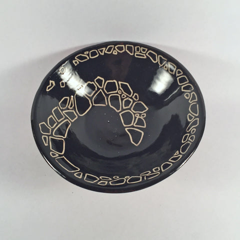 Stepping-Stone, Ceramic Bowl has Black Interior/Green & Red Exterior.