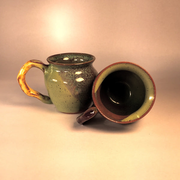 Twin Teacups! Shades of Green/Cream/Purple. Designer Handmade Ceramics