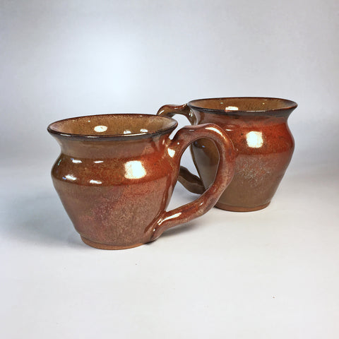 Set of Stunning Artisan Teacups in Beautiful Earthy Bronze/Gold Glaze!