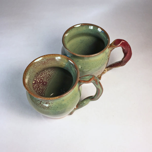 "Twin Teacups ""Rutile Cranberry"" Handmade Delicate Mugs in Mixed Glaze!"