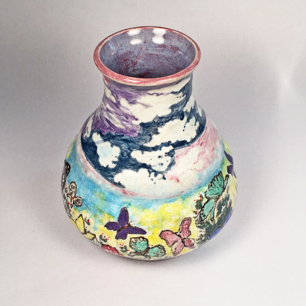 Unique Hand Painted Ceramic Vase in Delightful Butterfly & Flower Motif