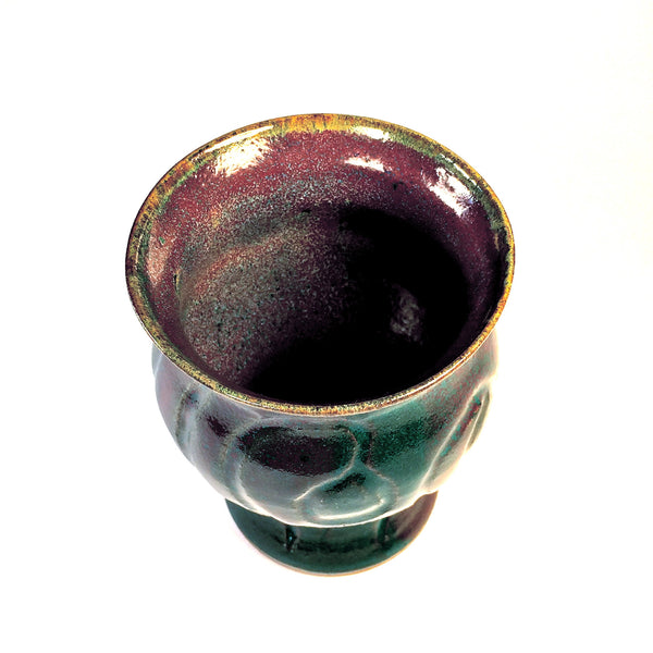 Hand-crafted Ceramic Vase in Deep Colors of Purple and Green.