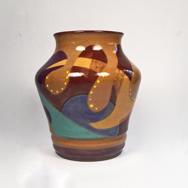 Beautiful Abstract Designer Vase Hand Painted in Colorful Doodles!