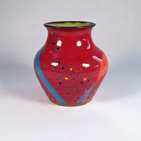 Sweetheart Vase in Brilliant Colors Hand Painted Fun Doodles & Dots!