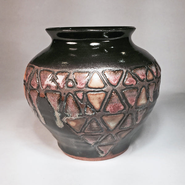 "Stunning Wheel-thrown Vase ""Shino Triangles""/Makes Great Home Accent!"