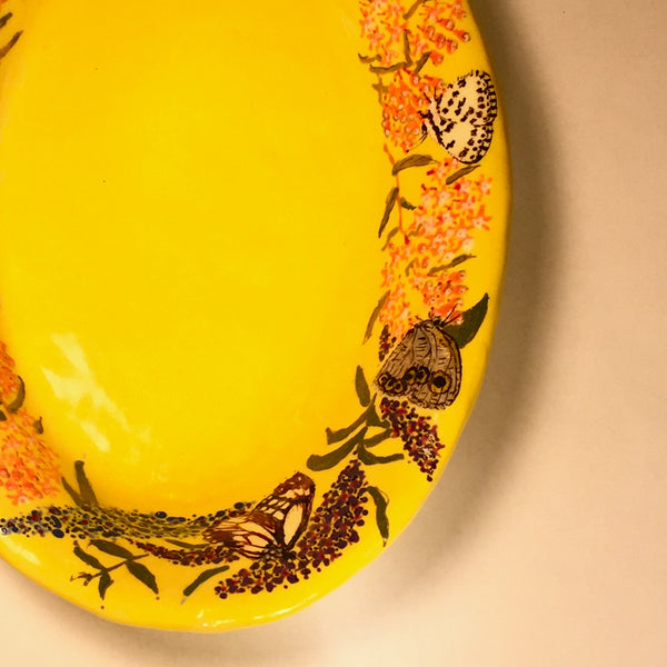 Artisan Hand-painted Ceramic Butterfly Platter/Bright and Colorful!