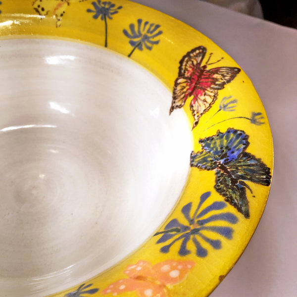 Hand-painted Yellow-Rimmed Butterfly Bowl