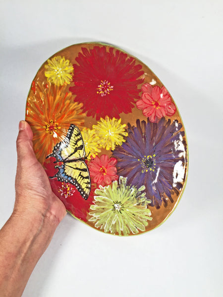 Handmade Hand-Painted Plate/Delightful & Glorious Zinnias & Butterfly!