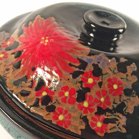 "Red Dahlia Ceramic Casserole-""Speckled Blue"""