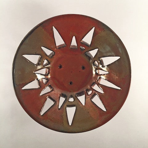 "Hand Carved Ceramic Decorative Bowl  ""Copper Sun"" Modern, Unique & Elegant"