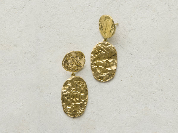 Aretes medallas laurel dobles