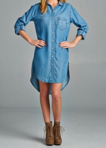 Denim Dress shirt - ShopSplice - 1