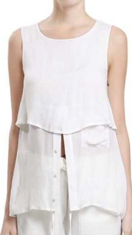White Sleeveless top - ShopSplice - 1