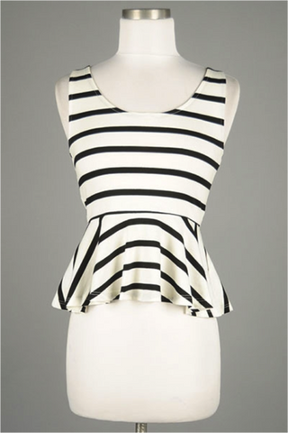 Striped Peplum Tank - ShopSplice