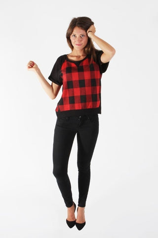 Plaid Short Sleeve Top - ShopSplice - 1