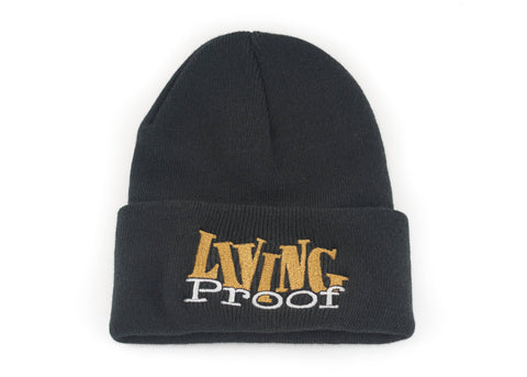Black/Gold 'Living Proof' Beanie