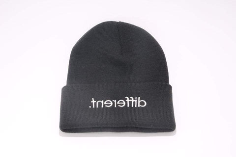 Black '.tnereffib' (Different) Beanie