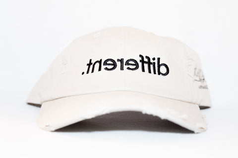 Distressed 'Stone(Beige)' '.tnereffib' (Different) Dad Hat