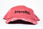 Distressed 'Dashing Red' '.tnereffid' (Different) Dad Hat