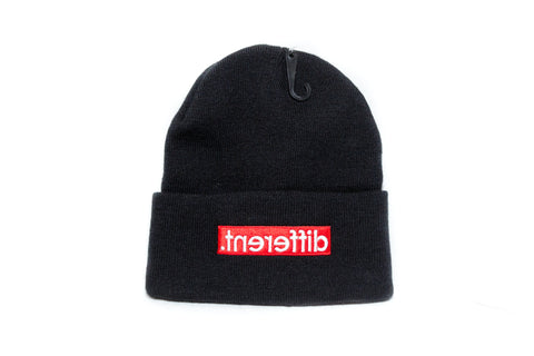 Black/Red box logo '.tnereffib' Beanie