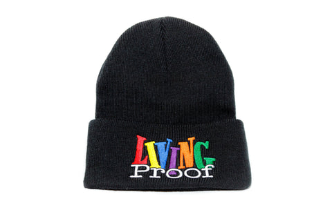 Black Multi-Colored 'Living Proof' Beanie