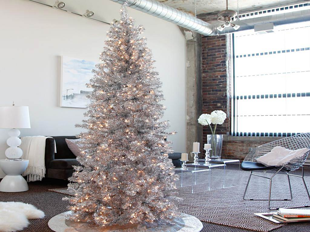 best modern silver christmas tree