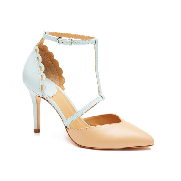 """Daniella"" Scalloped Sweetheart Vamp T-Strap Pump"