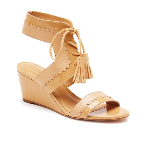 """Farrah"" Mixed Media Scalloped Sandal"