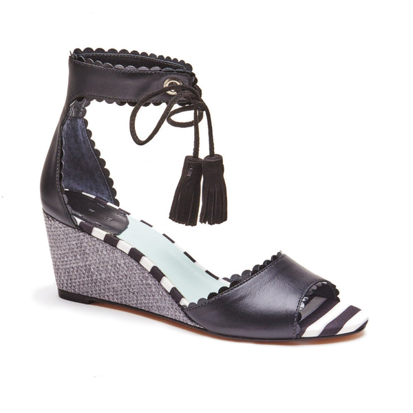 """Charlotte"" Scalloped Edge Wedge Sandal"
