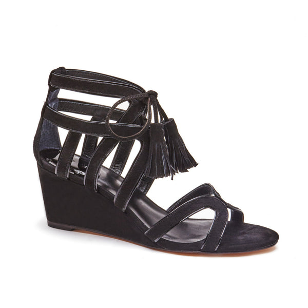 """Rylee"" Suede Caged Lace-Up Wedge"