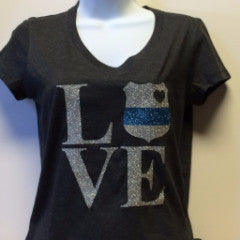 "Ladies ""Love"" T shirt with thin blue line"
