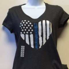 Ladies Blue Line Heart T-shirt