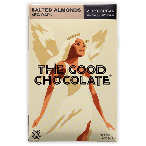 The Good Chocolate Salted Almonds 65% (Zero Sugar)