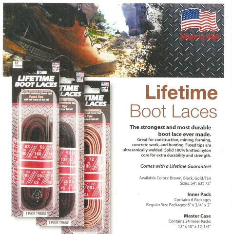 Boot/Work laces, (guaranteed for life), 6 pair pack