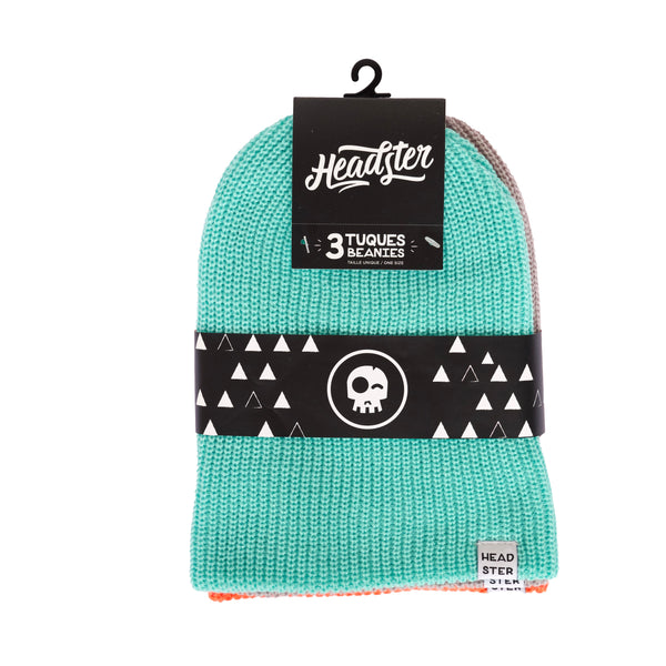 3 packs (Turquoise/Grey/Orange) - HEADSTER KIDS