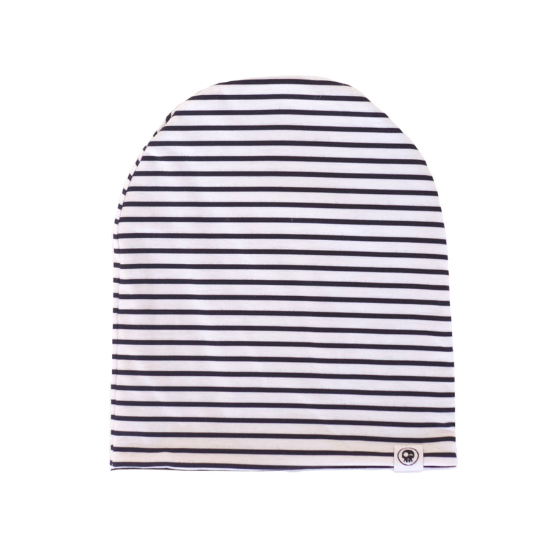 Striped Black Beanie