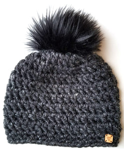 Cookies and Cream Faux Fur Pom Hat