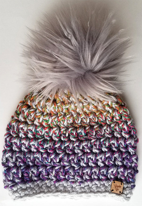 Rainbow Unicorn Faux Fur Pom Hat