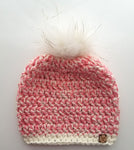 Rose Gold Faux Fur Pom Hat