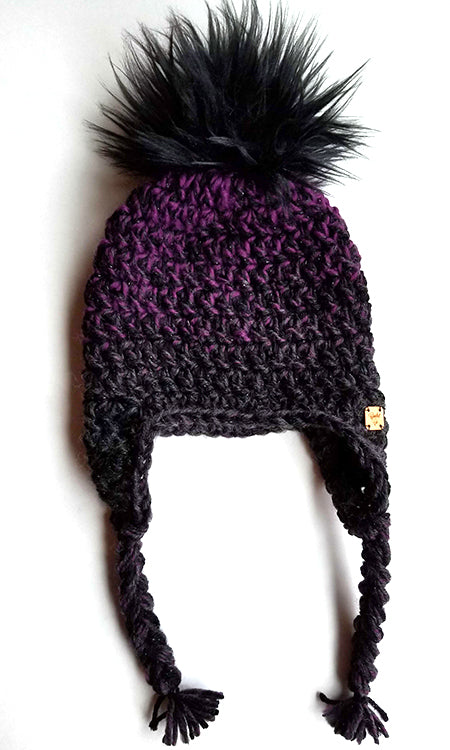 Dusky Ombre Faux Fur Pom Hat with Earflaps