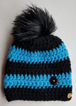 Blue Stripe Faux Fur Pom Hat