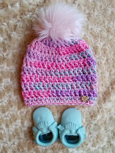 Candy Hearts Faux Fur Pom Hat